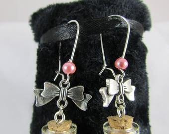 "Earrings ""Vial & pink Teddy bear"""