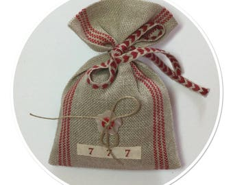 POUCH OF LAVENDER STRIPED WITH NOMINETTES ANTIQUE LINEN