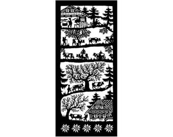Poya, home of the cheesemaker poya, mounted to the pasture in woodcut with edelweiss trim