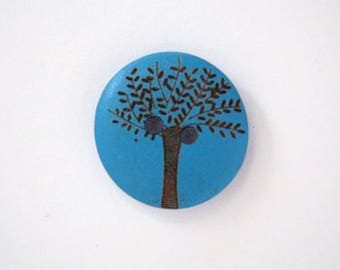 Olive wood 20mm - blue wooden buttons x 4 001827