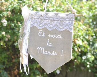 Pennant banner arrival of the bride - Bohemian theme ribbons and lace