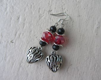 Dangling earrings romantic heart engraved silver metal, wood beads and glass, black, and Red Valentine's day cheap