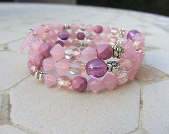 MULTISTRAND Cuff Bracelet beads Bohemian glass and sequins in pink, purple, flowers in silver, girly bracelet