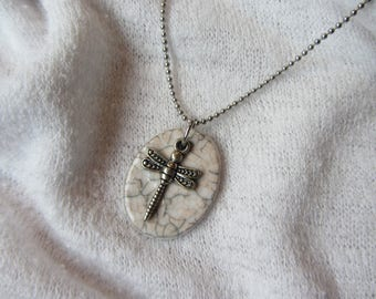 Oval Pendant Choker necklace white Crackle raku ceramic / very pale pink Dragonfly charm in silver ball chain