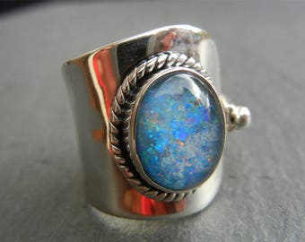Solid 925 sterling silver Opal ring