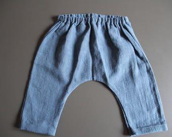 Harem pants for baby girl / boy in blue linen
