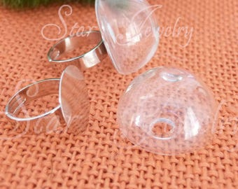 10 bubble glass 27 X 17 to fill cabochon globe ball snow + SUPPORT ring