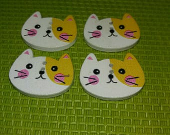 set of 4 wooden embellishments cat buttons