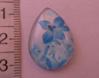 1cabochon glass drop blue white flowers 25mmx18mm