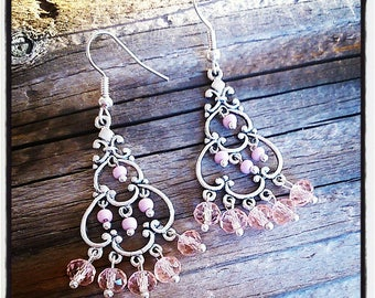 Earrings silver and faceted pink glass beads