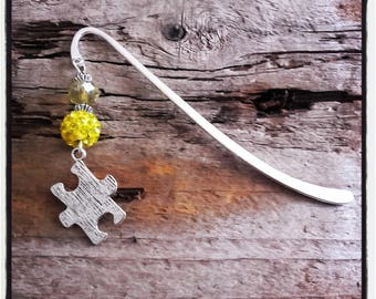 Yellow puzzle silver charm bookmark