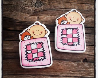 set of 2 wooden baby pink