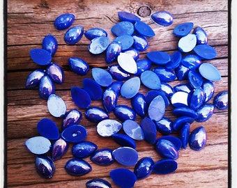 cabochons 12 g half Pearl drop shaped blue