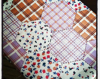 Coupon canvas printed liberty 45/45 cm patchwork squares and flowers