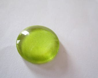 glass cabochon round 20mm lime green