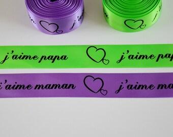 "Purple/neon green satin ribbon ""I love Daddy / I love Mommy"" 25mm"