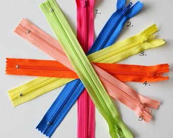 Zipper - 20cms - neon colors