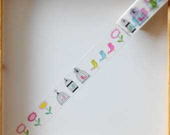 """Masking tape - pattern """"CAGE and birds"""" - 1.5 cm x 10 m"""
