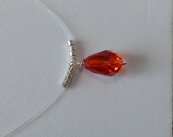 Elegant necklace red swarovski crystal - AB drop