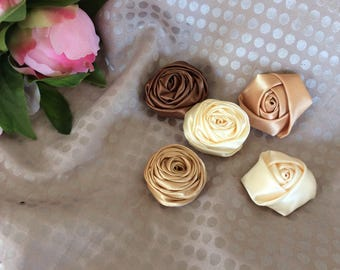 Set of five satin flowers