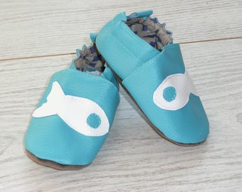 Slippers size 20 blue white fish
