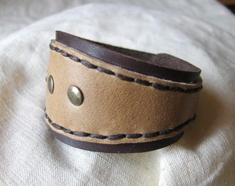 Beige Brown Leather Bracelet handmade