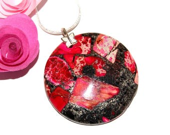 Red Imperial Jasper - hallmark and 925 sterling silver disc pendant