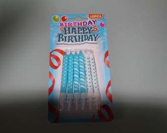 X 12 blue and white birthday CANDLES