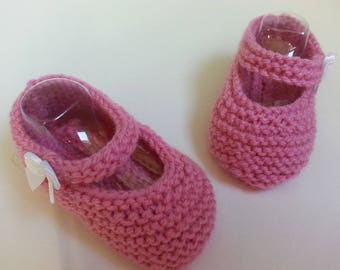 """Little feet """"so babies"""" pink backed 3-6 months - booties"""