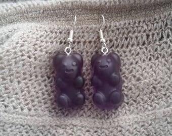 Sweet earrings violet resin bear