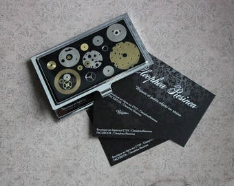 Business card carrier, resin and watch parts, steampunk