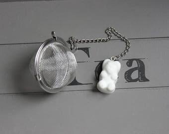 Tea Infuser tea, stainless steel, sweet bear in white resin ball