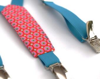 Shoulder straps child elastic fabric and turquoise Mikko red Petit Pan