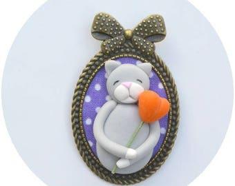 Cat, cat brooch, fimo, cat brooch cat brooch brooch fimo brooch, artist original
