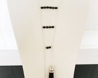 Necklace black finish and silver plated pyramid shape with 2 tassels
