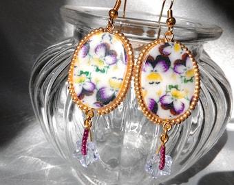 Purple yellow purple mother of pearl earrings
