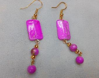 Dangle earring Pearl flat pink