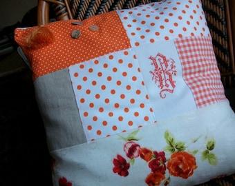 "Orange patchwork pillow and Monogram ""B"""