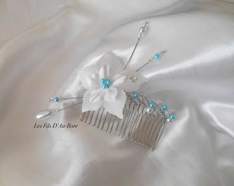 ORLANE haircomb with white silk flower