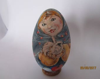 painted goose egg: young woman with scarf
