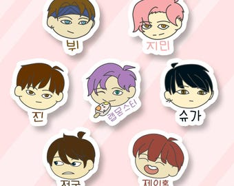 BTS Bangtan Sonyeondan sticker set,Beyond the scene prints,Jimin  Rapmonster Jhope Min Yoongi Suga Agust D Jin V Taehyung Jungkook