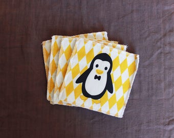 Set of 4 yellow Penguin baby wipes
