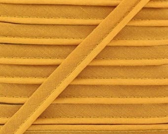 Yellow mustard / plain cotton piping 10mm wide, cut 50 cm