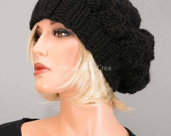Hand knitted Beanie, beret, pure black wool