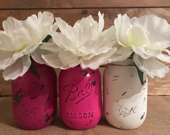 3 hand painted and distressed Ball Mason jars