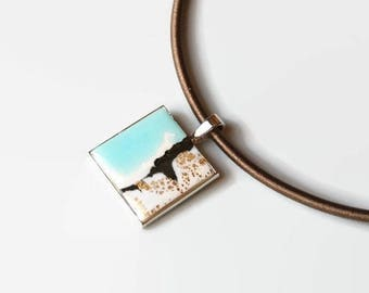 Square pendant, polymer clay cabochon, blue white bronze, unique, graphic, silk, silver tone cord
