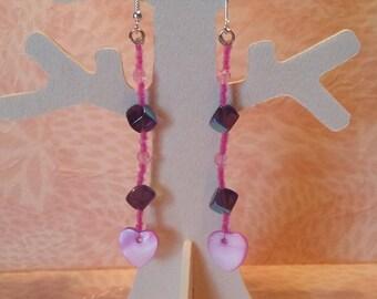 Pink Pearl Heart Earrings-