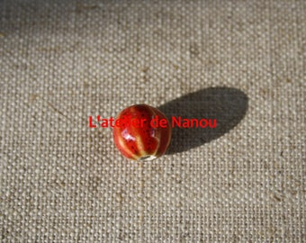 ceramic bead handmade 10 mm red pumpkin shape