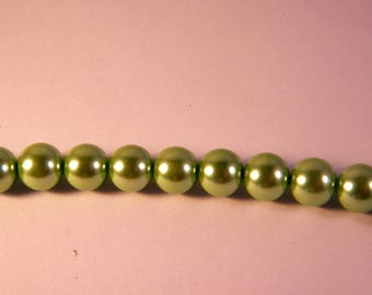 15 10 mm light green Pearl Pearly glass beads