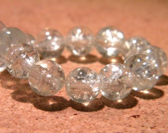 glass Crackle 8 mm - clear - PF61 20 beads